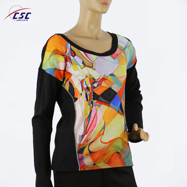 Wholesales No Color-Fading Sublimation Long Sleeve Women Tops