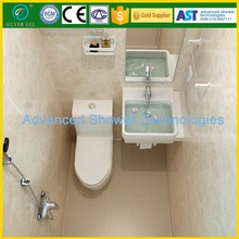 All in one prefab bathroom unit with shower head toilet mirror led light from china manufacturer