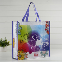 recycled laminated pp woven shopping tote handle bag factory