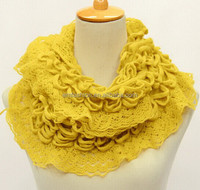 Fashion New Arrival Women Beautiful Flower Petal Acrylic Knitted Scarf