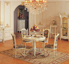 Noble Style Dinning Round Table With Chairs, Queen Anne Dinning Room Furniture, Carved Wooden Queen's Table