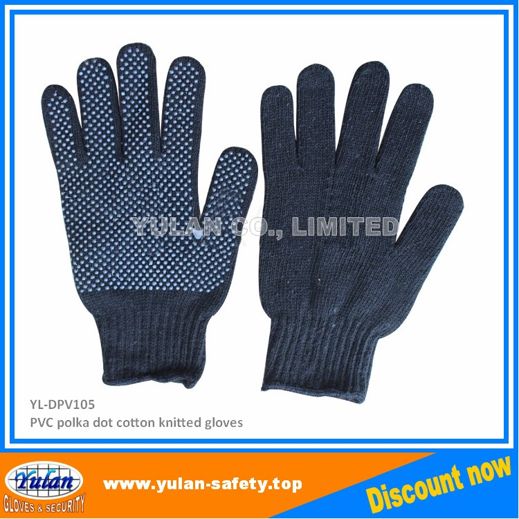 navy blue cotton glove pvc dots warm glove