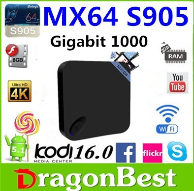 New modle and beautiful Amlogic S905 Quad core tv box 5.1 lollipop s905 2G/8G dual wifi MX64 from Dragonbest stock