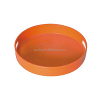 Solid Melamine Round Serving Tray With Handles