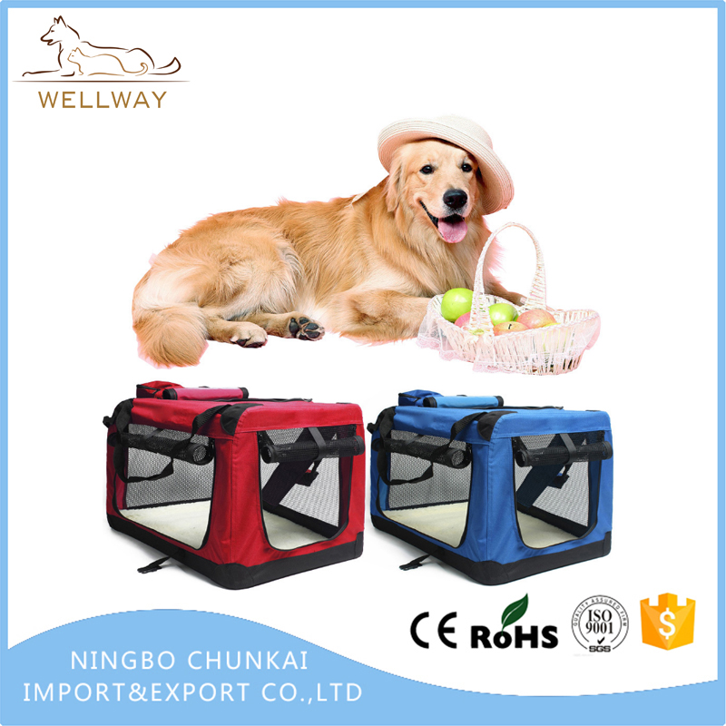 Collapsible Dog Crate with Folding Bowl Three doors with fleece Mat & Storage Pockets