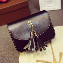 South Korean fashion one-shoulder bag of oil leather handbag tassel ladies bag