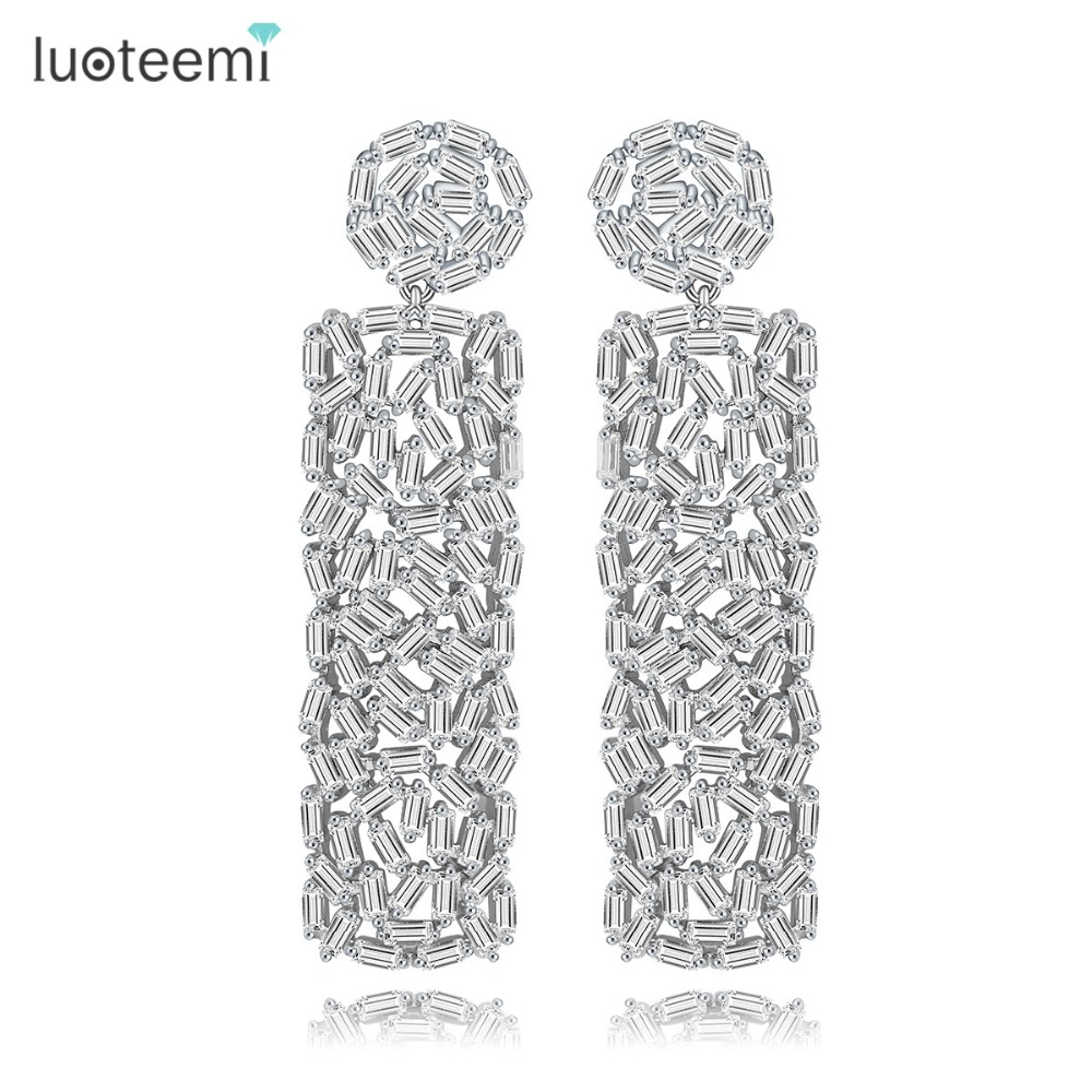 LUOTEEMI Women Newst Pure Baguette CZ Diamond Trendy Engagement Big Long Dangle <strong>Earring</strong> Fashion