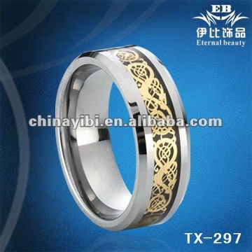 Gold Dragon Tungsten Ring, Silver UP mark inlaid Tungsten Ring Jewelry