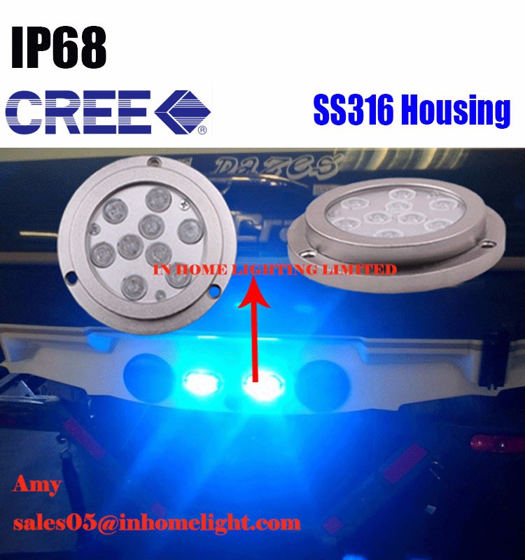 IP68 27W C REE Stainless Steel316 Underwater Boat Marine Fishing LED Light