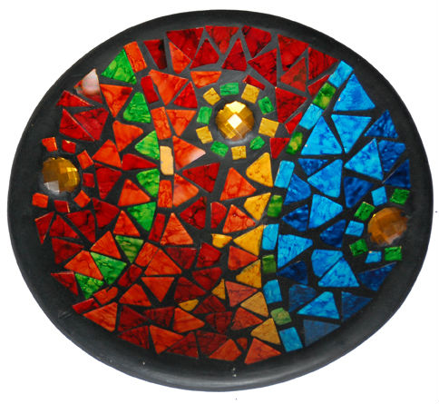 Round Terracotta with colorful mosaic