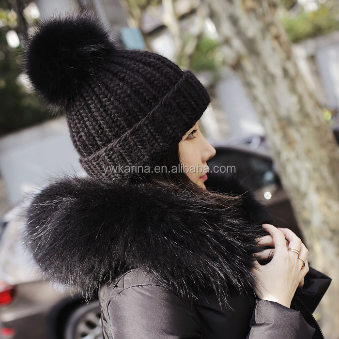Real Fox Fur Pom Poms Ball Keep Warm Winter Hat For Women Girl 's Wool Hat Knitted Beanies Cap Thick Female Cap