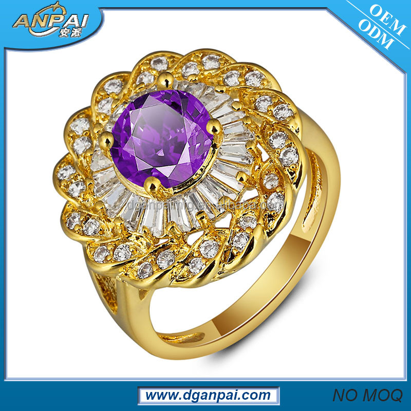 wholesale poison mood ring 18K gold plated replica designer ring with CZ stones