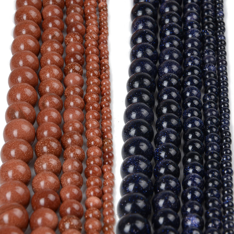 4 6 8 10 12 mm Natural Gold Sand Stone Beads Loose Dark Blue Sandstone Round Beads for DIY Jewelry