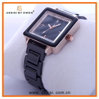 Assisi fashion women's diamond dial japan movt watch stainless steel black