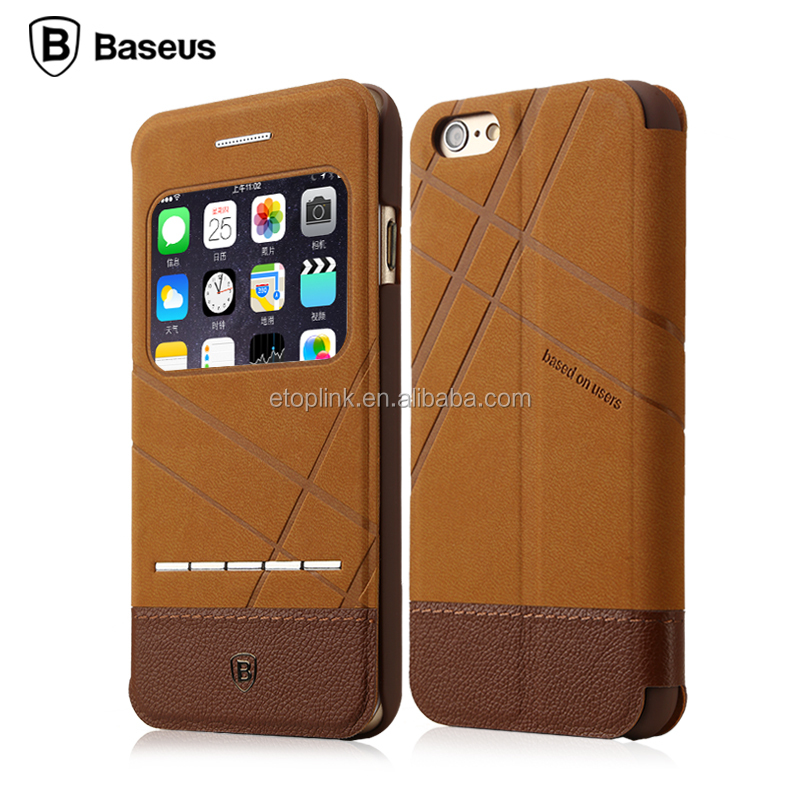BASEUS Luxury Fashion Flip stand Cover Leather Case For Apple iPhone 6G 6S screen protect Wallet case With Logo Hole