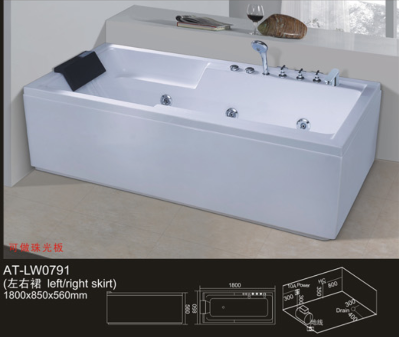 cheap freestanding whirlpool acrylic massage bathtub for home use