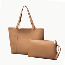New designer China high quality elegant PU leather bags set women tote bags 2pcs women handbags set for lady