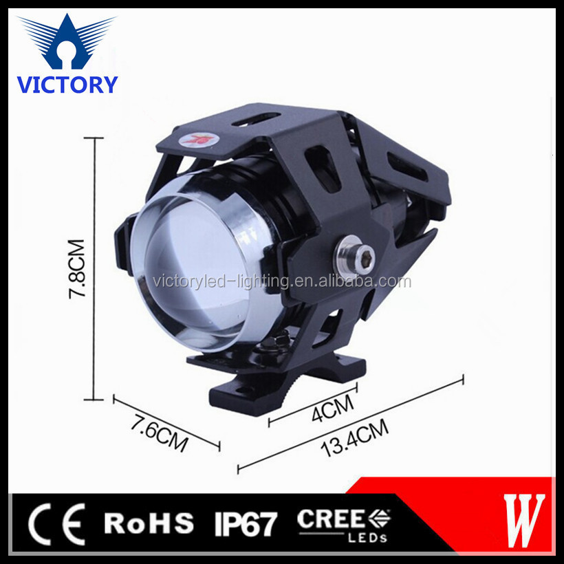 High quality 12V-80V DC U7 15W Strobe Black/ Silver Housing Led headlight For Motorcycle