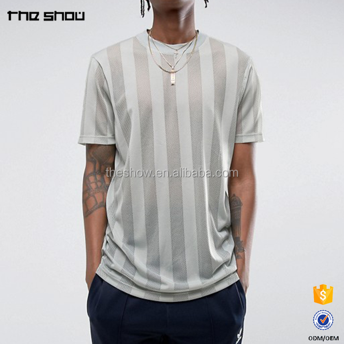 Custom made 100% polyester men's striped mesh t shirt extended longline t shirt