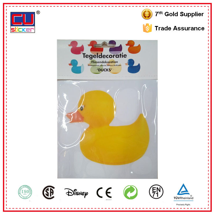 Yellow duck static cling tile home decoration sticker/custom glowing stars,wall clock adhesive stickers
