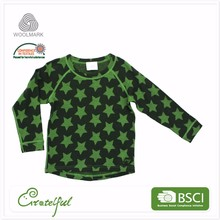 Wholesale children long sleeve thermal baby 100% merino wool underwear for kids