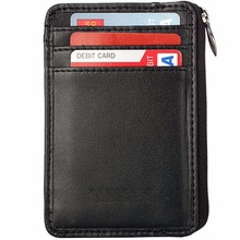 Genuine leather Rfid Blocking Sleeves Front Pocket Wallet Secure Sleeve Mini Card Holder with Zipper and Id Window
