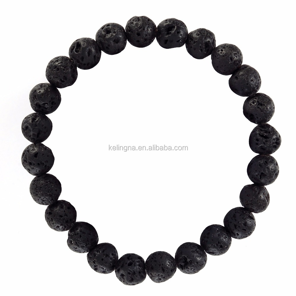 Fashion lava bead bracelet 8 mm 7.5 Inch lava stone jewelry lava stone for sale