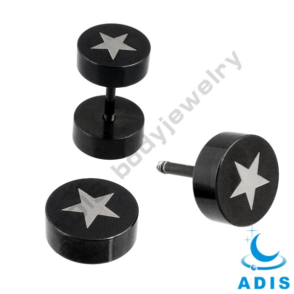 Black body piercing jewelry wholesale cheap 316 stainless steel fake ear tunnel