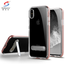 Wholesale clear transparent crystal tpu pc hard cover phone case for iphone 6 6plus 7 8 x kickstand