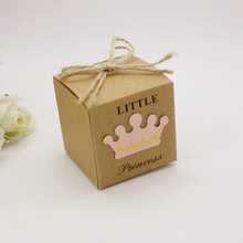 Little Prince Princess Square Crown Kraft Paper Baby Shower Candy Box Party Gift Boxes Girl Boy Kids Birthday Favors Box