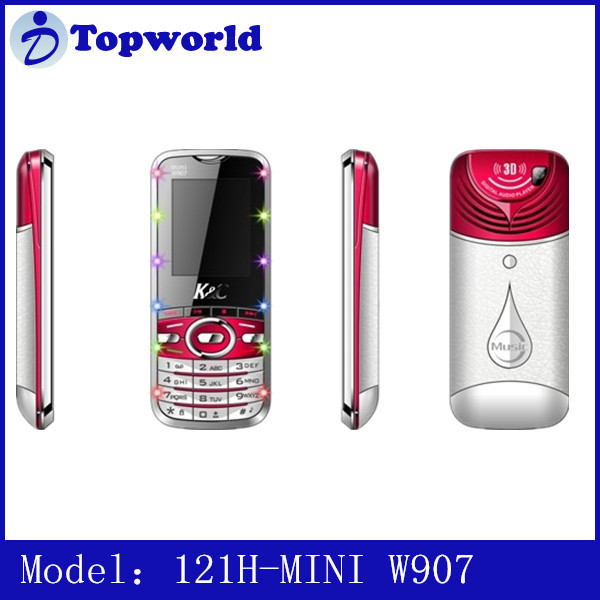 Factory OEM 1.77inch W907 121I-MINI K88 QCIF battery 500mAh Spreadtrum 6531 dual SIM 3 Languages MP3/MP4 Feature Phone