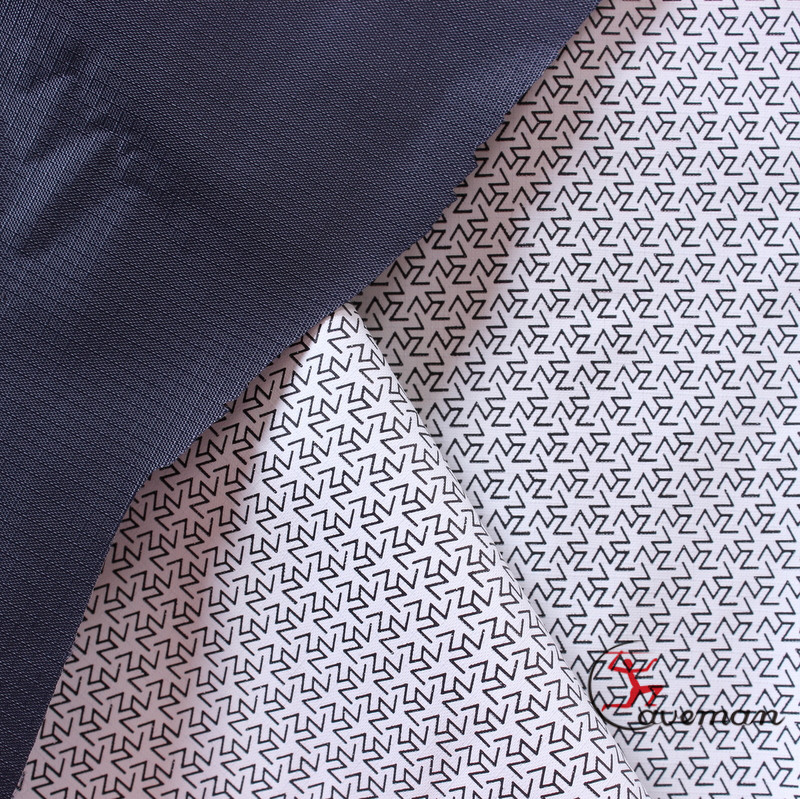 Pattern Printed PU Coating Dark Blue 0.2cm Plaid Check Ripstop Polyester Taffeta Outdoor Fabric ( Sample Free )