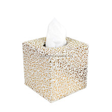 Cute golden square leather tissue box,tissue paper holder,tissue case