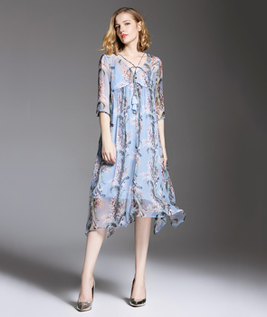 Summer new design V collar loose printing ladies dress