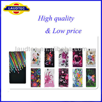 2013 Hot Selling for Sony Xperia Z l36h,flower rubberized hard case cover for Sony Xperia Z l36h+free Screen protector