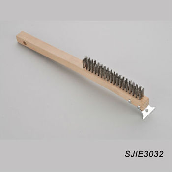 hand steel wire brush , American Style Stainless Steel Wire Brush with Metal Scraper