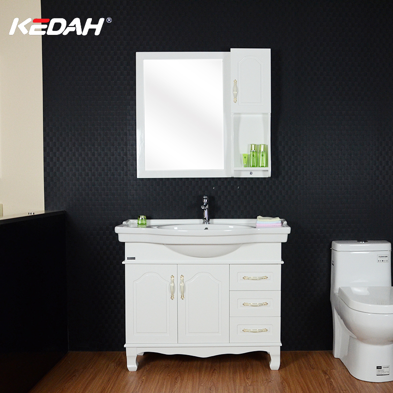 Low MOQ Floor Mounted Osk Wood Cheap Hotel Bathroom Vanity Cabinet