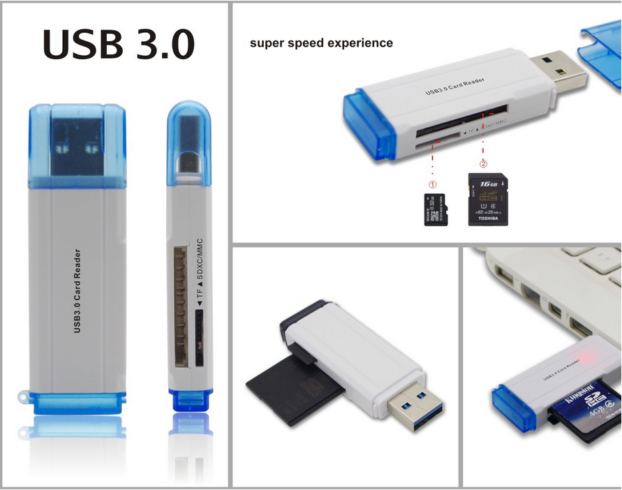 High speed USB 3.0 SDXC SD TF Card Micro USB OTG Card Reader Adapter for Smartphone and PC