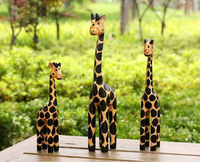 Nordic animal log carving hand-painted wooden family giraffe