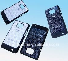 pu leather sticker mobile phone plastic case for samsung galaxy s2 i9100