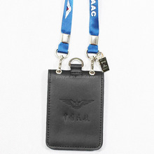 double hang rope real leather ID card holder for special