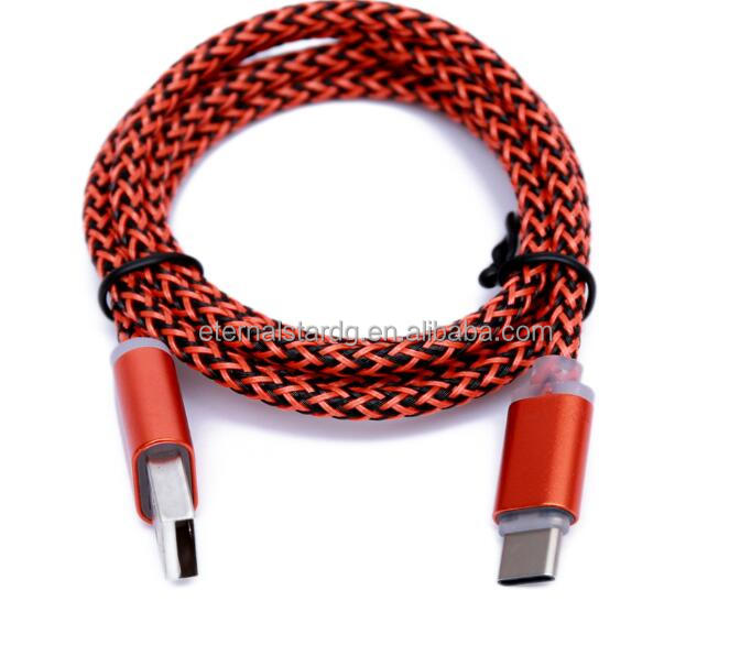 In stock Colorful Braided Type C usb charging cable for smart phone orange usb cable