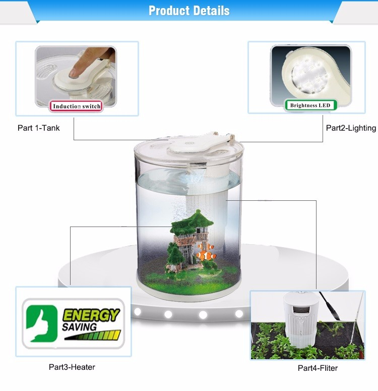 Free sample round aquarium tank price with LED/Water pump acrylic acrylic cylindrical aquarium fish tank