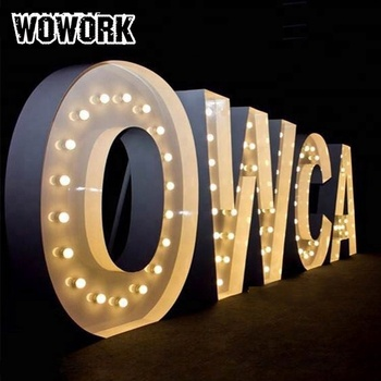 Romantic led sign light wedding big letter metal marquee lights outdoor waterproof