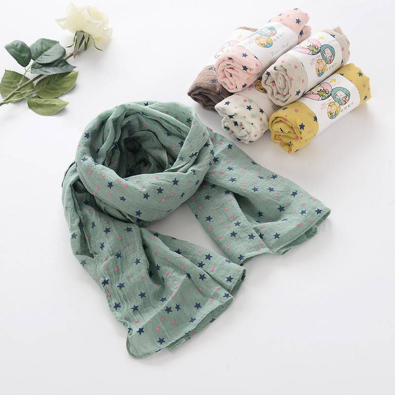 S65106A Baby Stars Scarves Spring Autumn Girls Boys Cotton Scarf