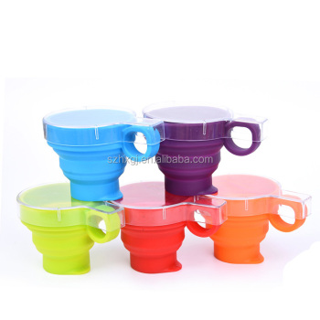 Custom logo Outdoor travel Collapsible Silicone Folding Cup with lid