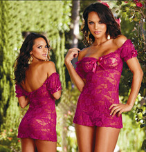 Erotic Lingerie Sash Neck Roses Lace Sheath Night Dress Women Transparent Sexy Sleepwear