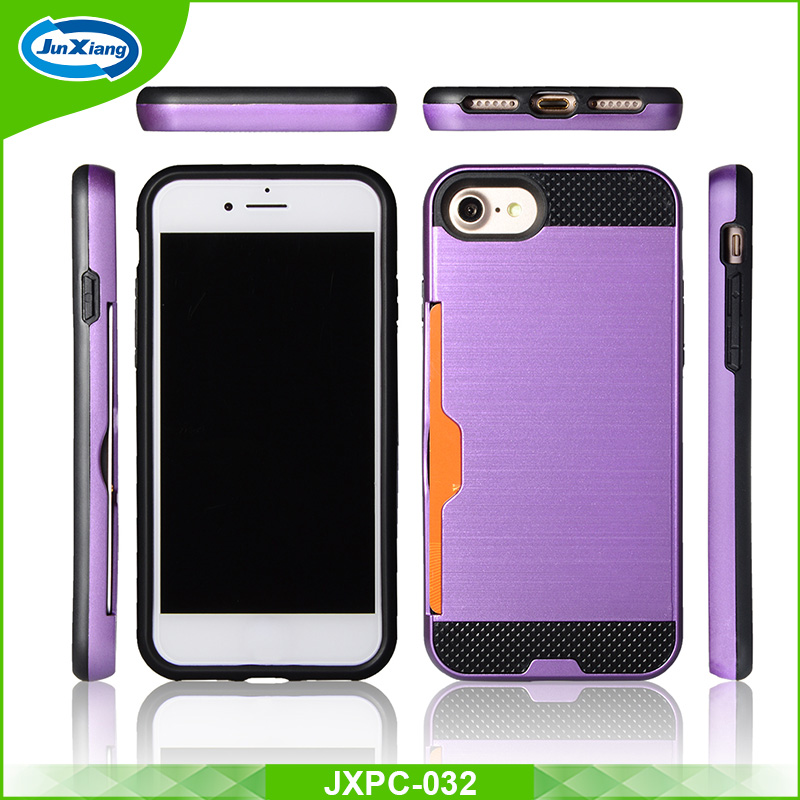 New dual layer slim armor mobile phone case for iphone 7 with card slot
