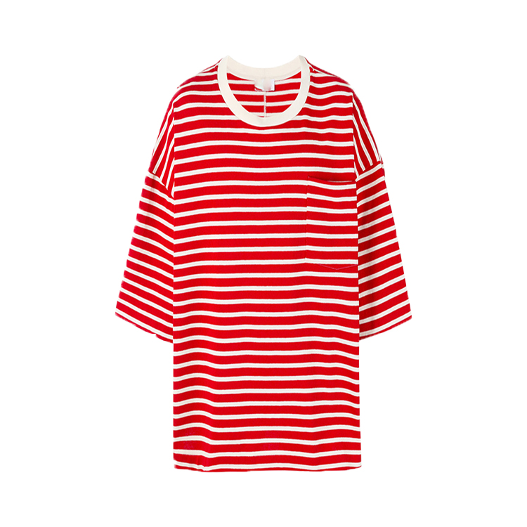 White and red cotton striped oversize looser slope shoulder men's T-shirt from Chinese manufacturers
