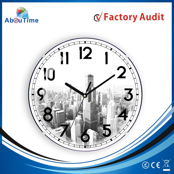Industrial Quartz Decorative Large Round digital personalized stained glass globe wall clock